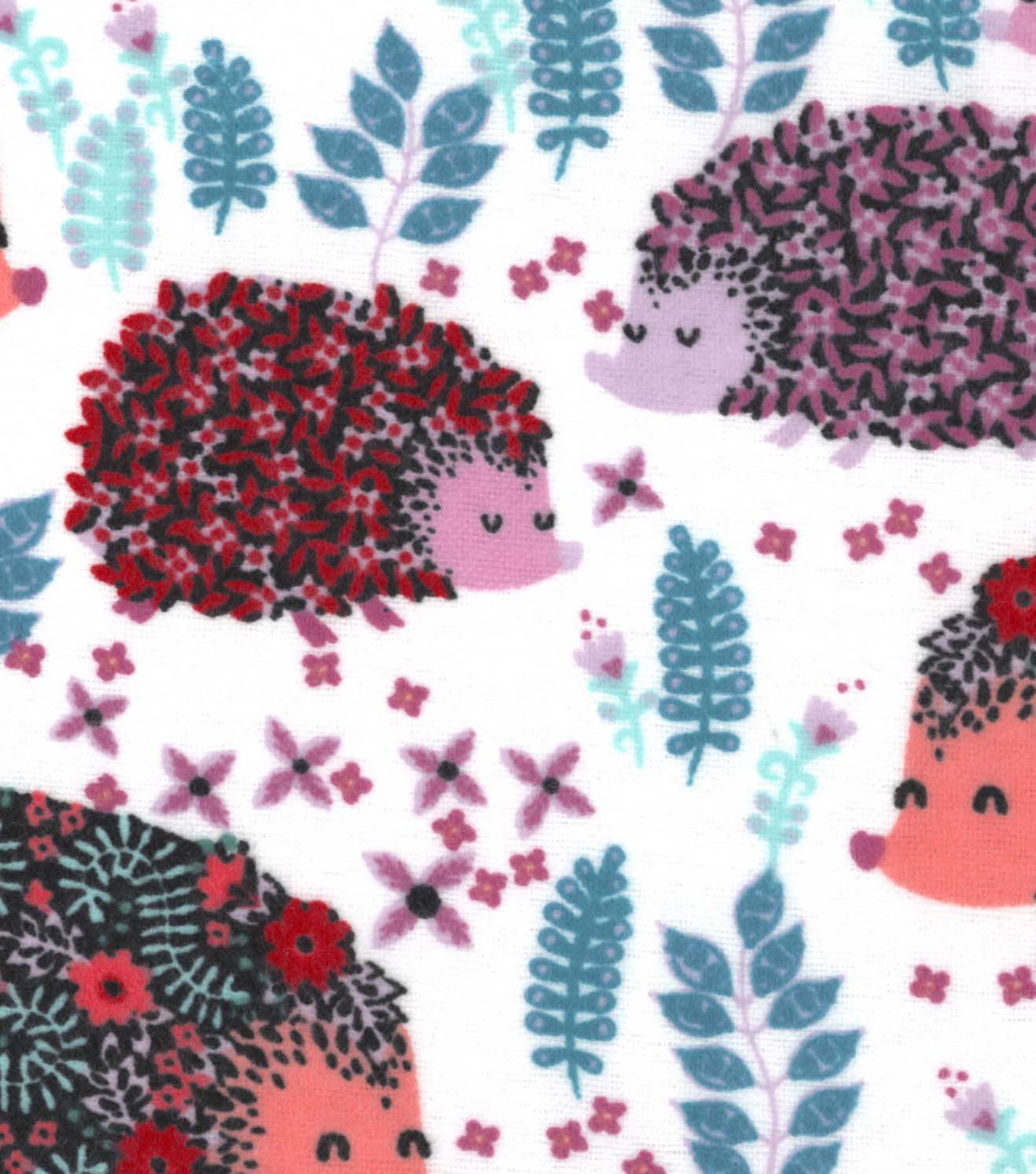 Snuggle Flannel Fabric -Floral Pattered Hedgehogs