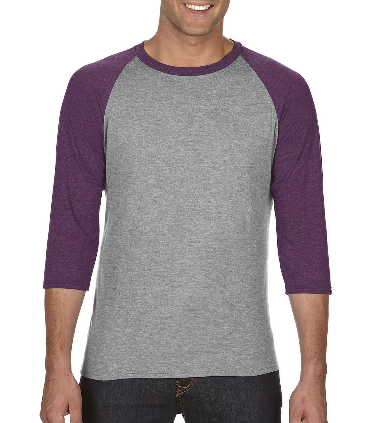 Anvil Extra Large Adult Raglan Shirt, Grey/aubergine