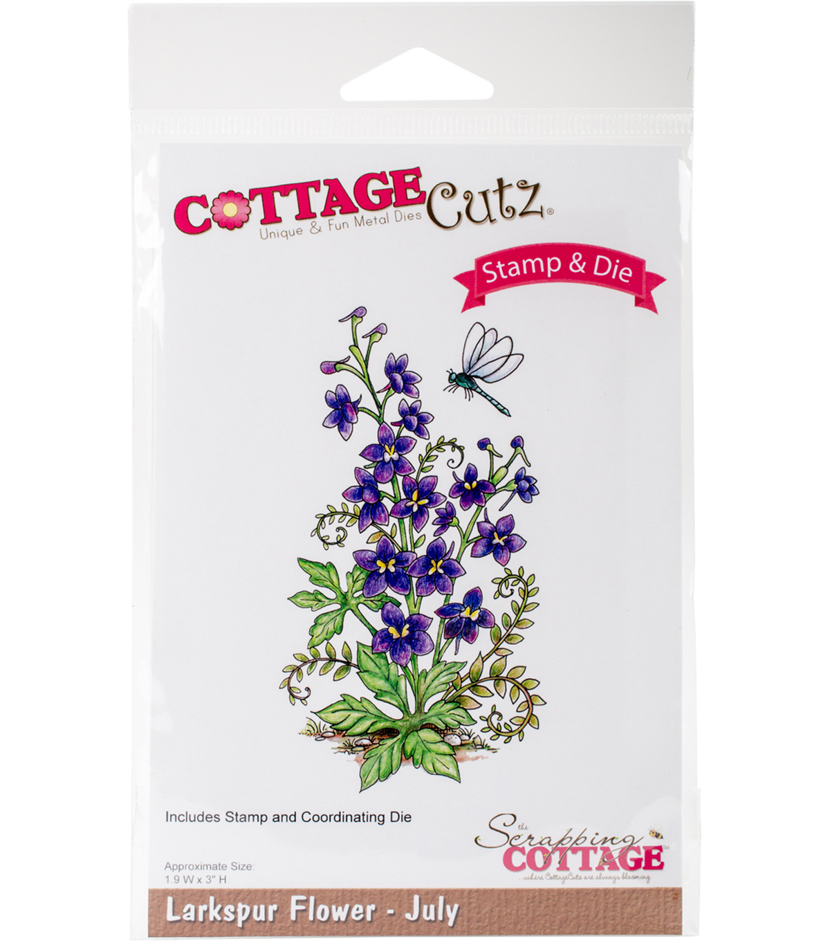 CottageCutz Stamp & Die Set-Larkspur-July
