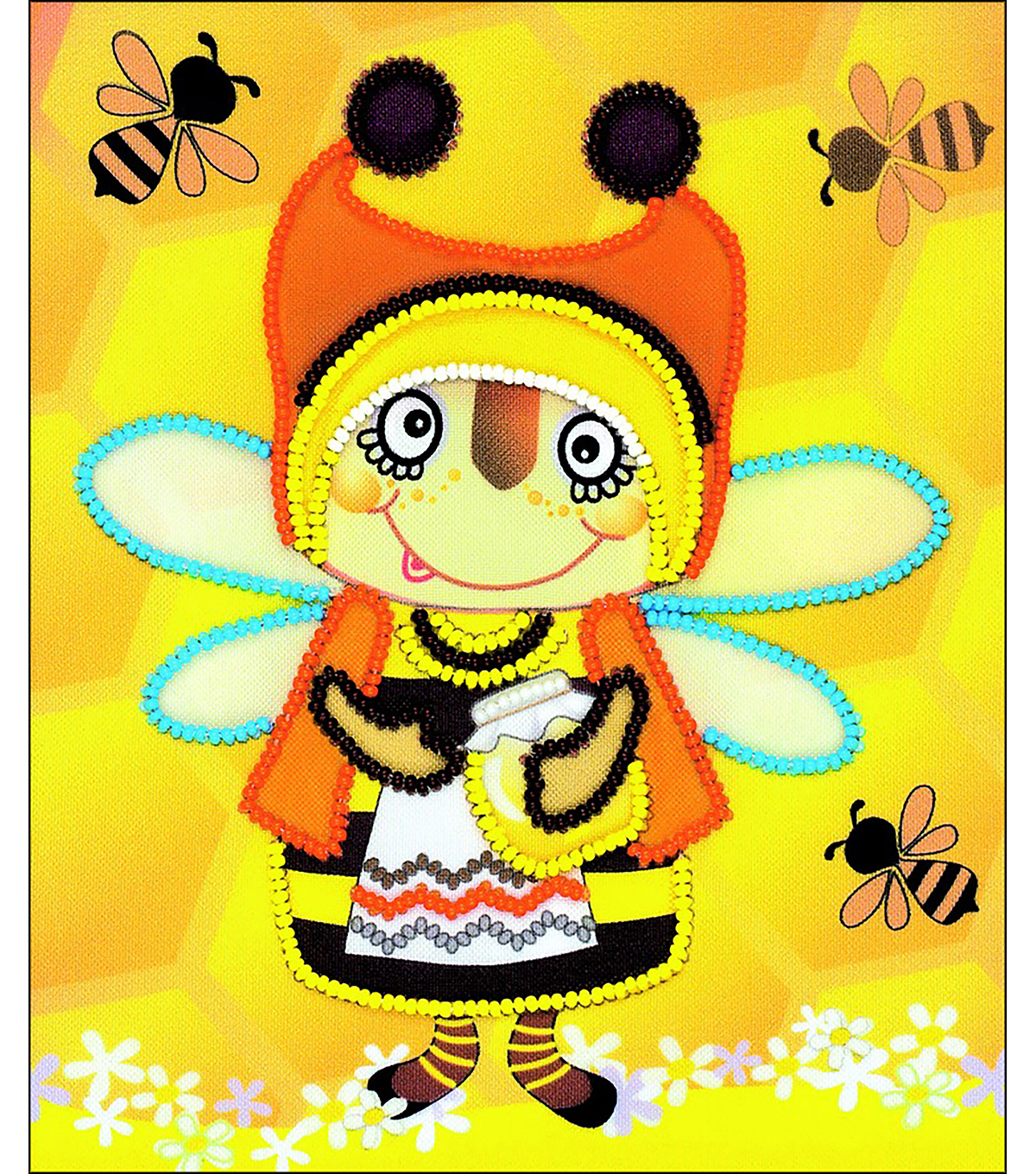 RIOLIS Create it Yourself 6\u0027\u0027x7\u0027\u0027 Beaded Embroidery Kit-Granny Bee