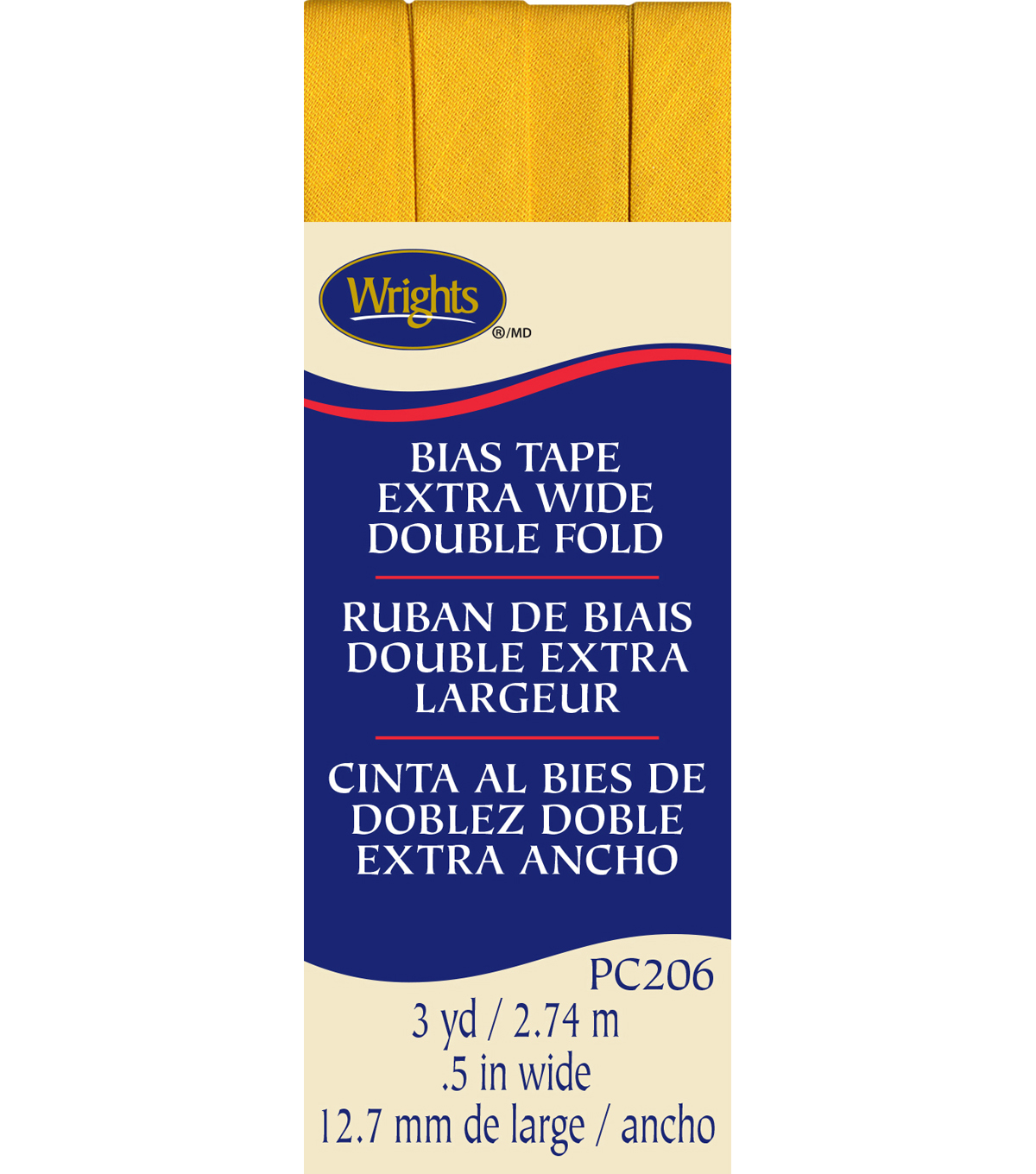 Xwide Double Fold Bias Tape 3Yd Yellow