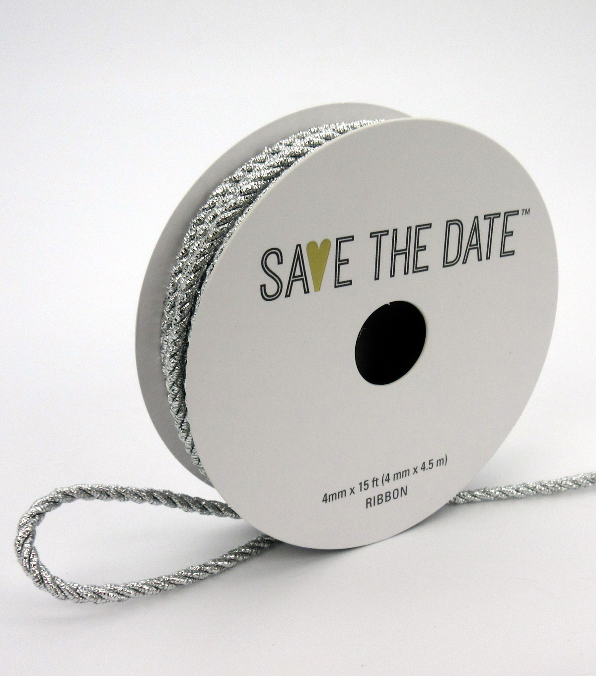 Save the Date 4mm x 15ft Cord-Silver Metallic