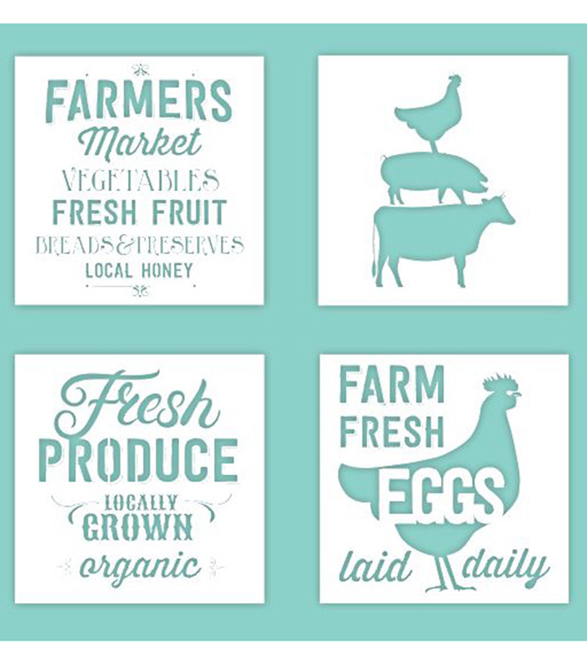 Hampton Art 12X12 Stencils-Farmhouse