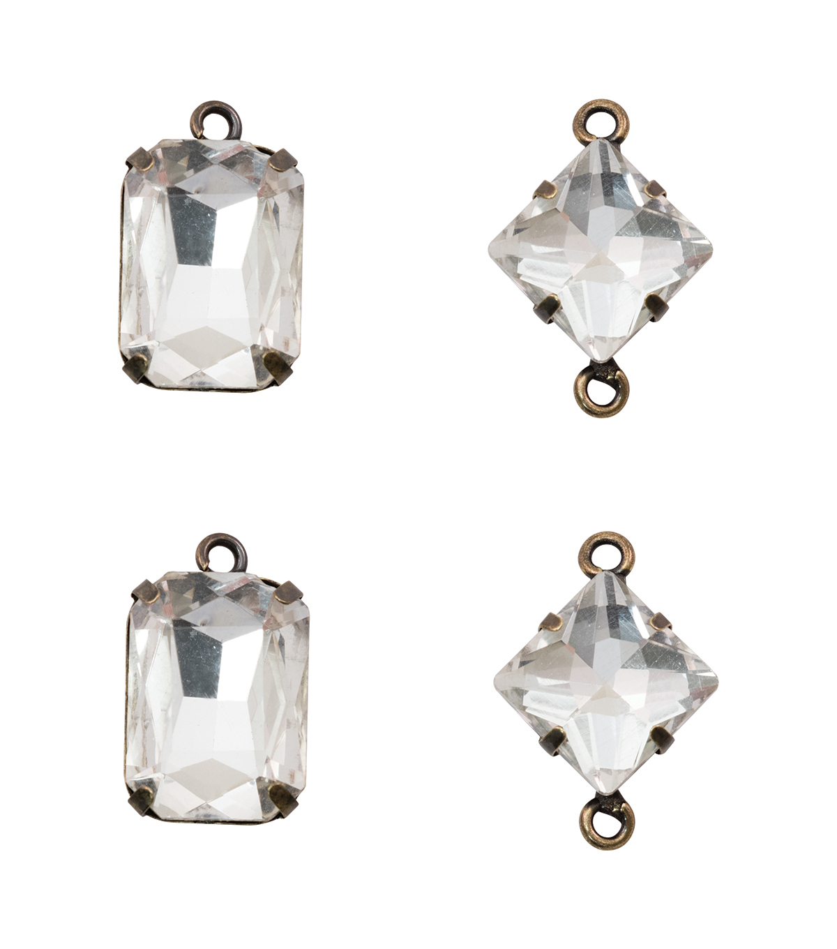 Tim Holtz Assemblage Pack of 4 Faceted Gems Charms