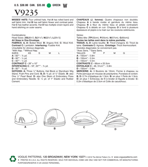 Vogue Pattern V9235 Misses\u0027 Hats in Four Styles