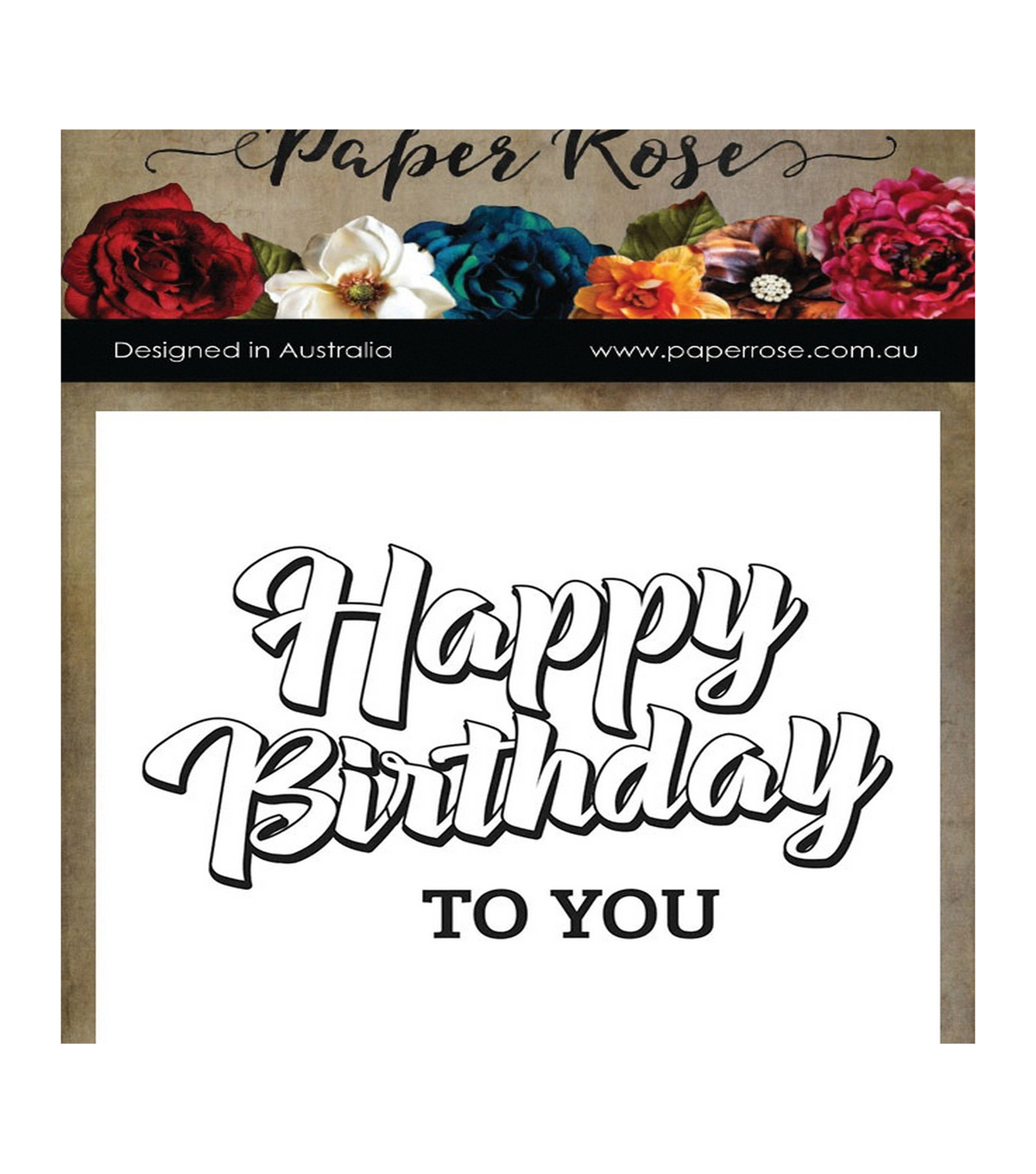 Paper Rose 2 pk Clear Stamps-Happy Birthday to You