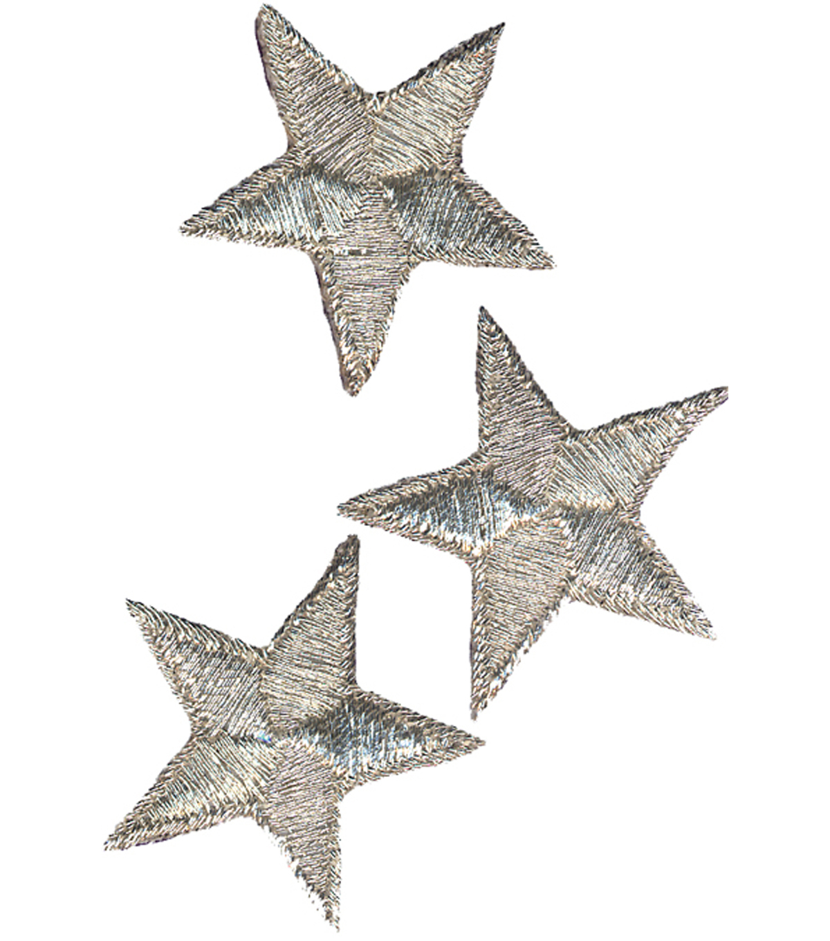 Wrights Iron-On Appliques-Silver Metallic Stars 2\u0022 3/Pkg