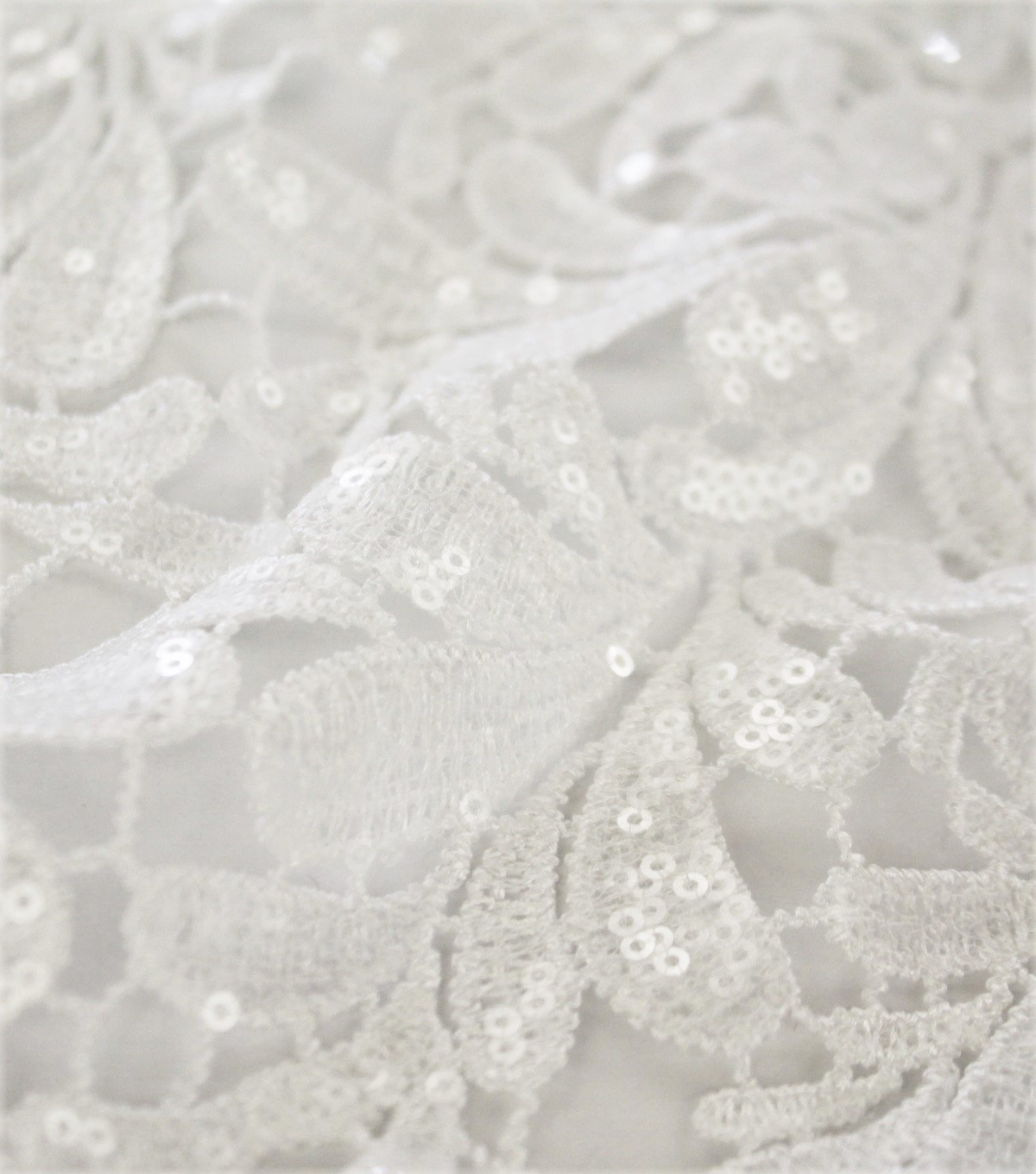 Polyester Lace Fabric-Heavy Lace wih White Sequins