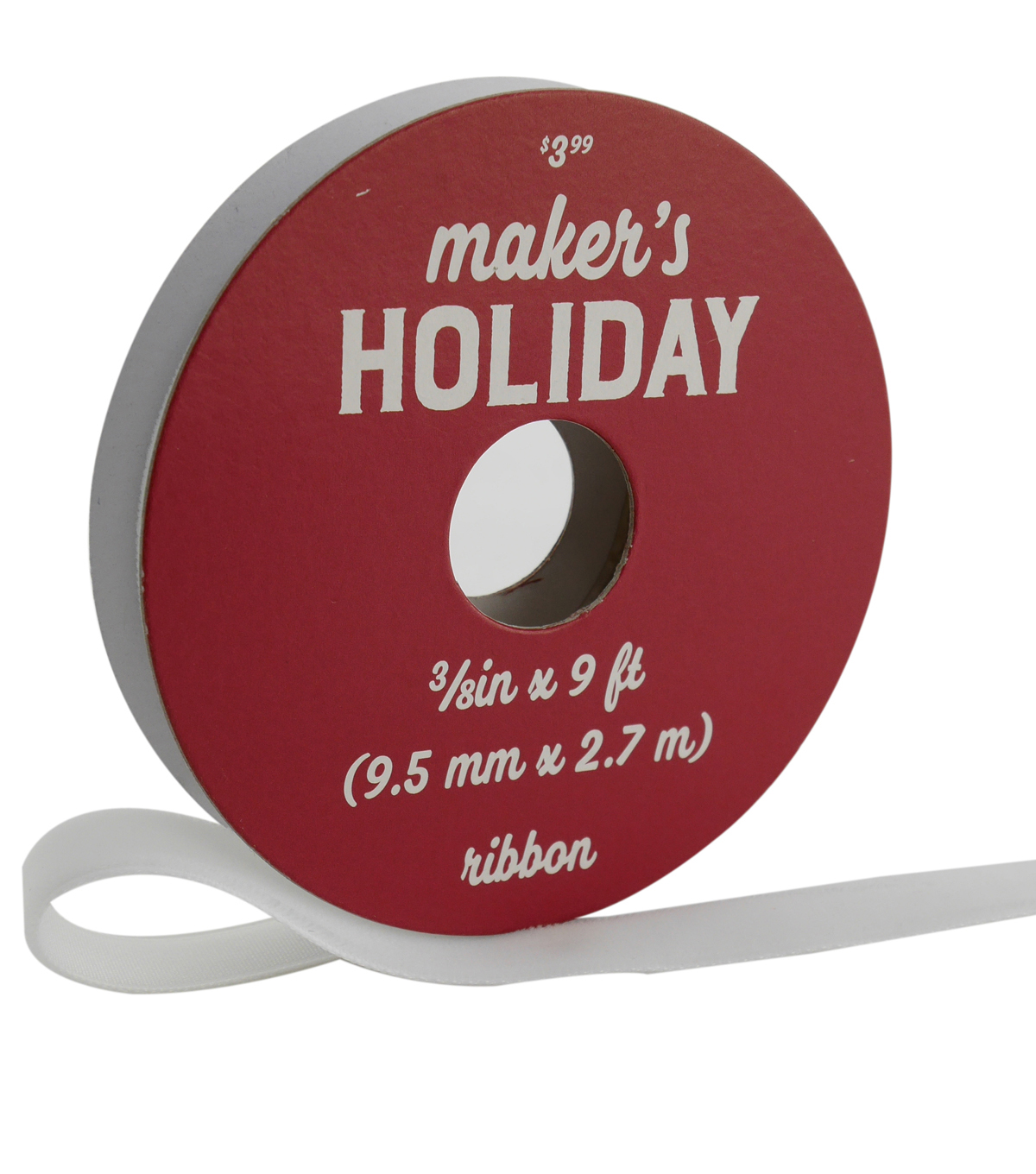 Maker\u0027s Holiday Traditional Holiday Velvet Ribbon 3/8\u0027\u0027x9\u0027-White