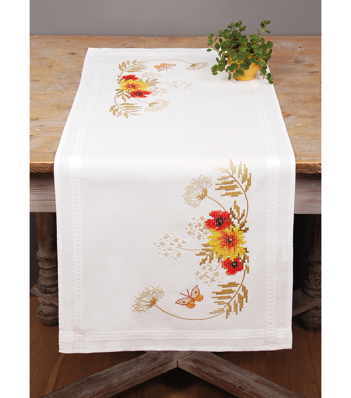 Sunflowers & Poppies Table Runner Counted Cross Stitch Kit