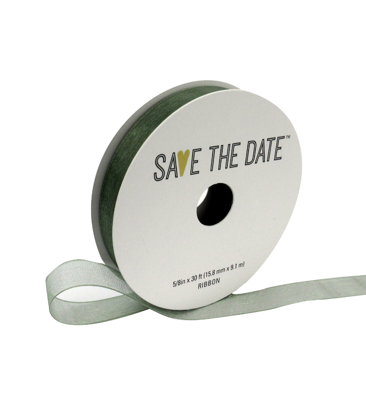 Save the Date 5/8\u0022 x 30ft Ribbon-Eucalyptus Sheer