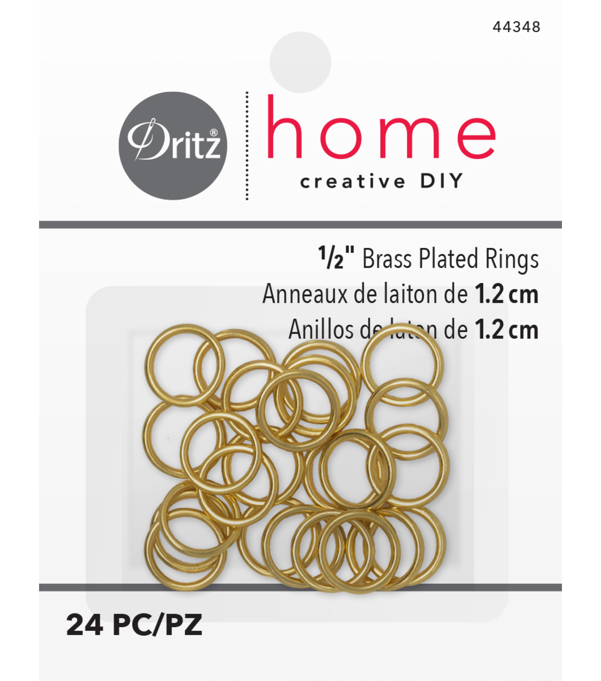 Dritz Brass Plated Rings Sm 1/2\u0022 24 Ct