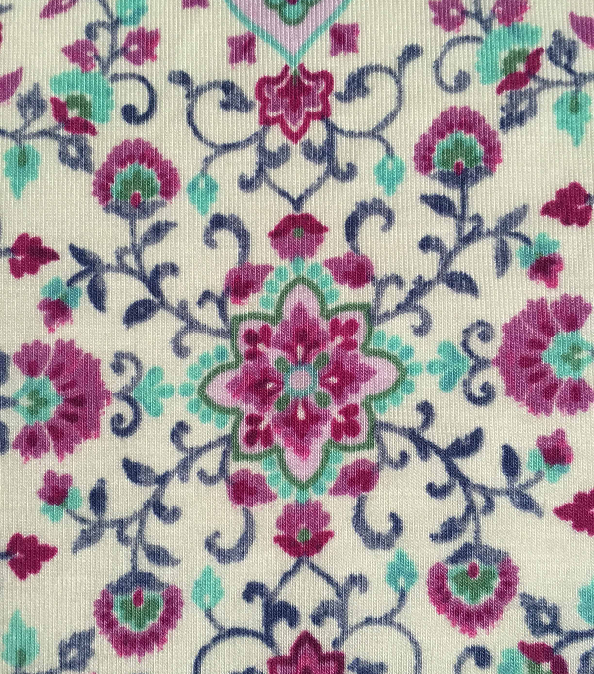Knit Apparel Fabric-Vines Pink Mosaic on Ivory
