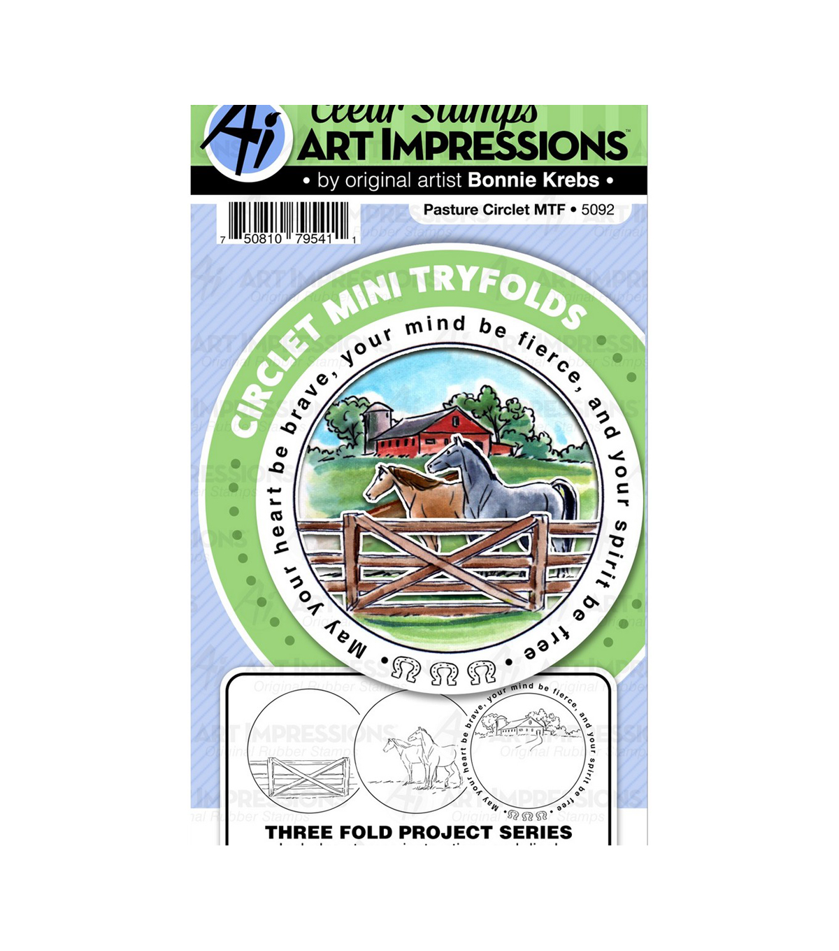 Art Impressions Circlet Mini TryFolds Stamp & Die Set-Pasture