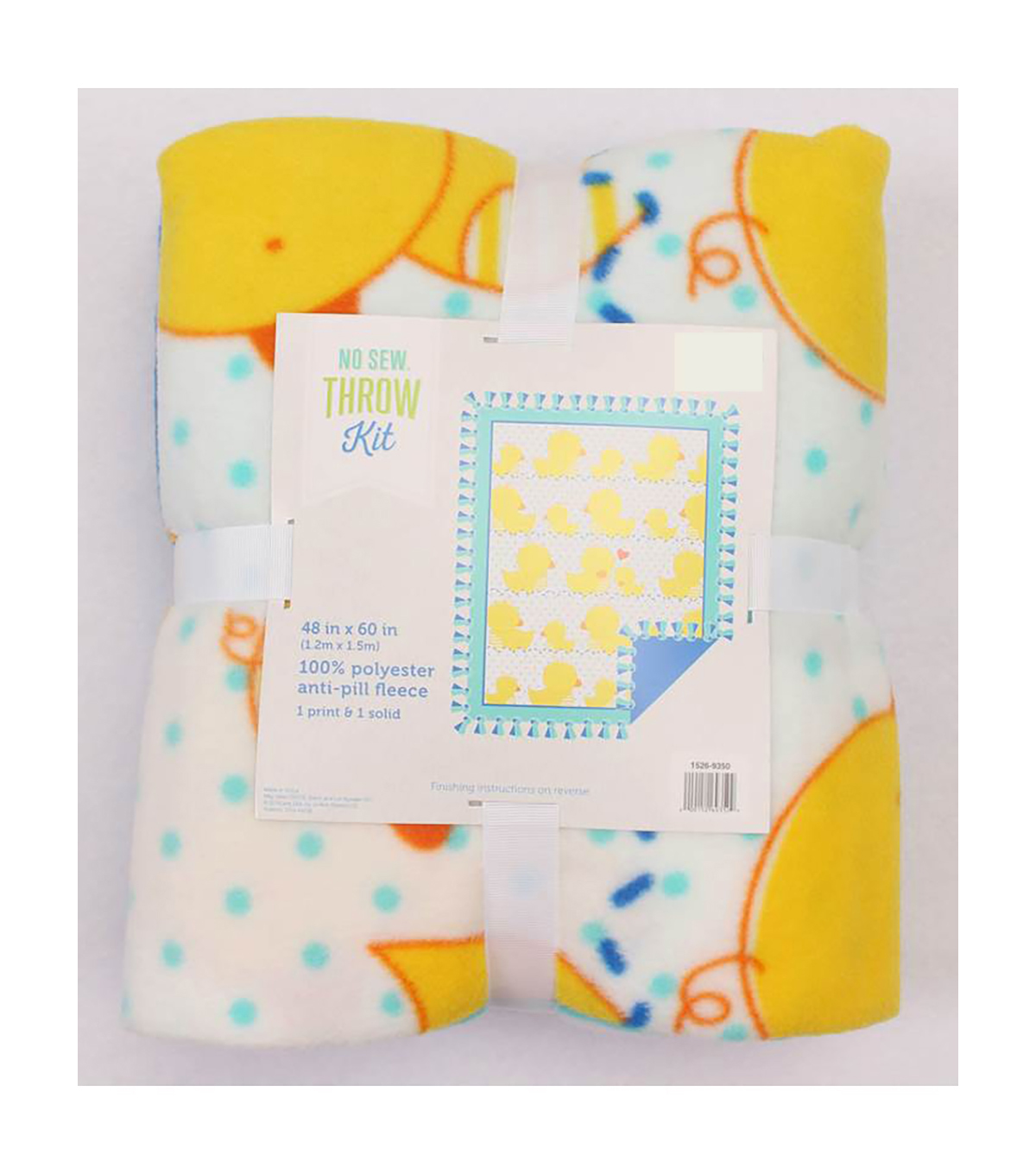 No-Sew Throw Fleece Fabric 48\u0022-Yellow Ducks Panel