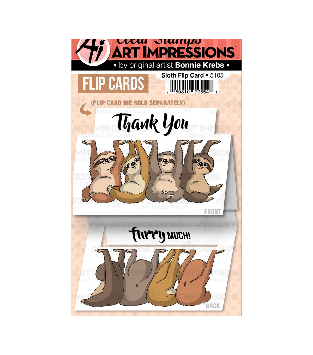 Art Impressions Flip Card Clear Stamp-Sloth