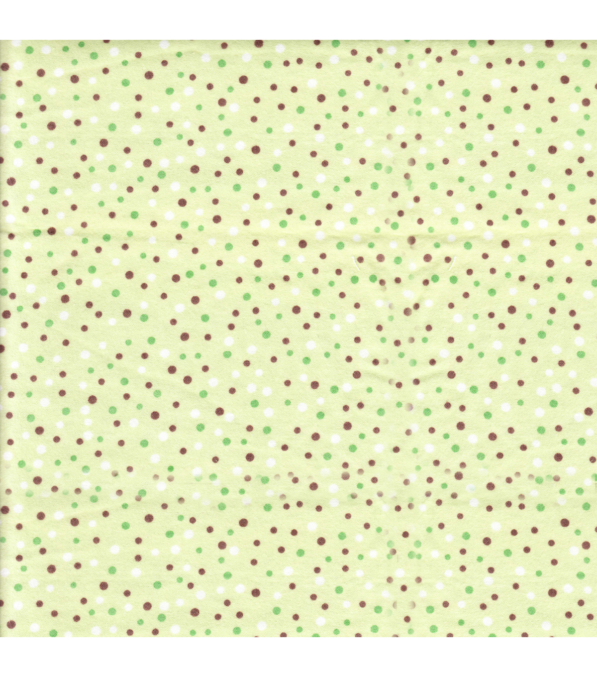 Snuggle Flannel Fabric -Green, Brown & White Dots