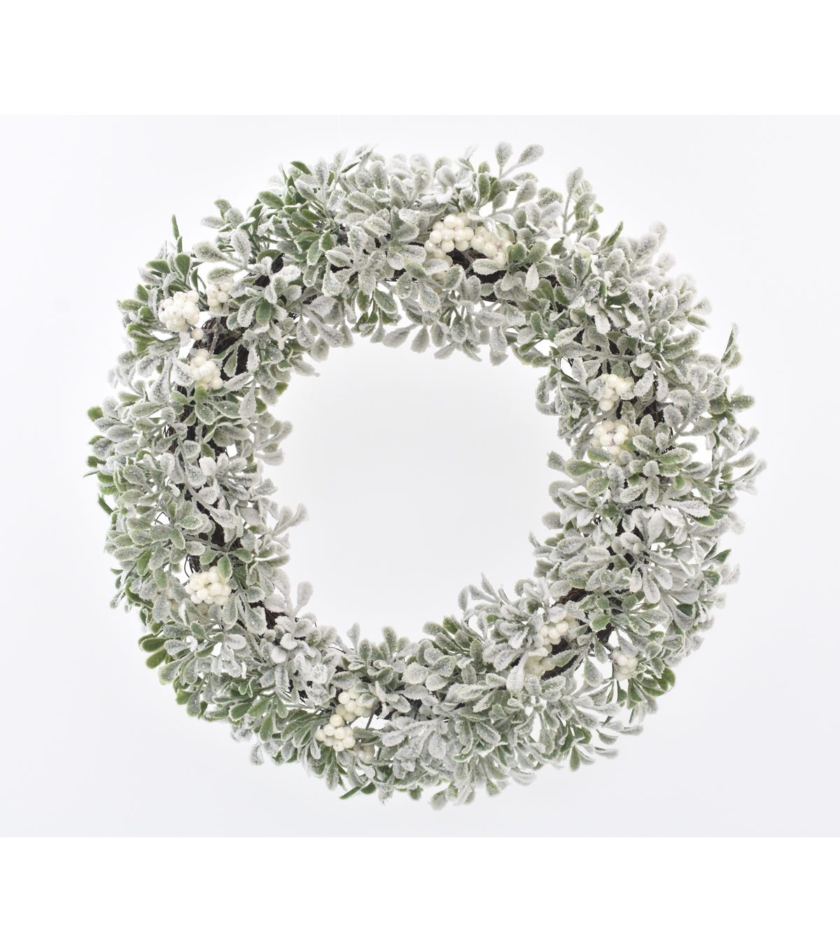 Blooming Holiday Christmas 20\u0027\u0027 Berry & Frosted Boxwood Wreath-White