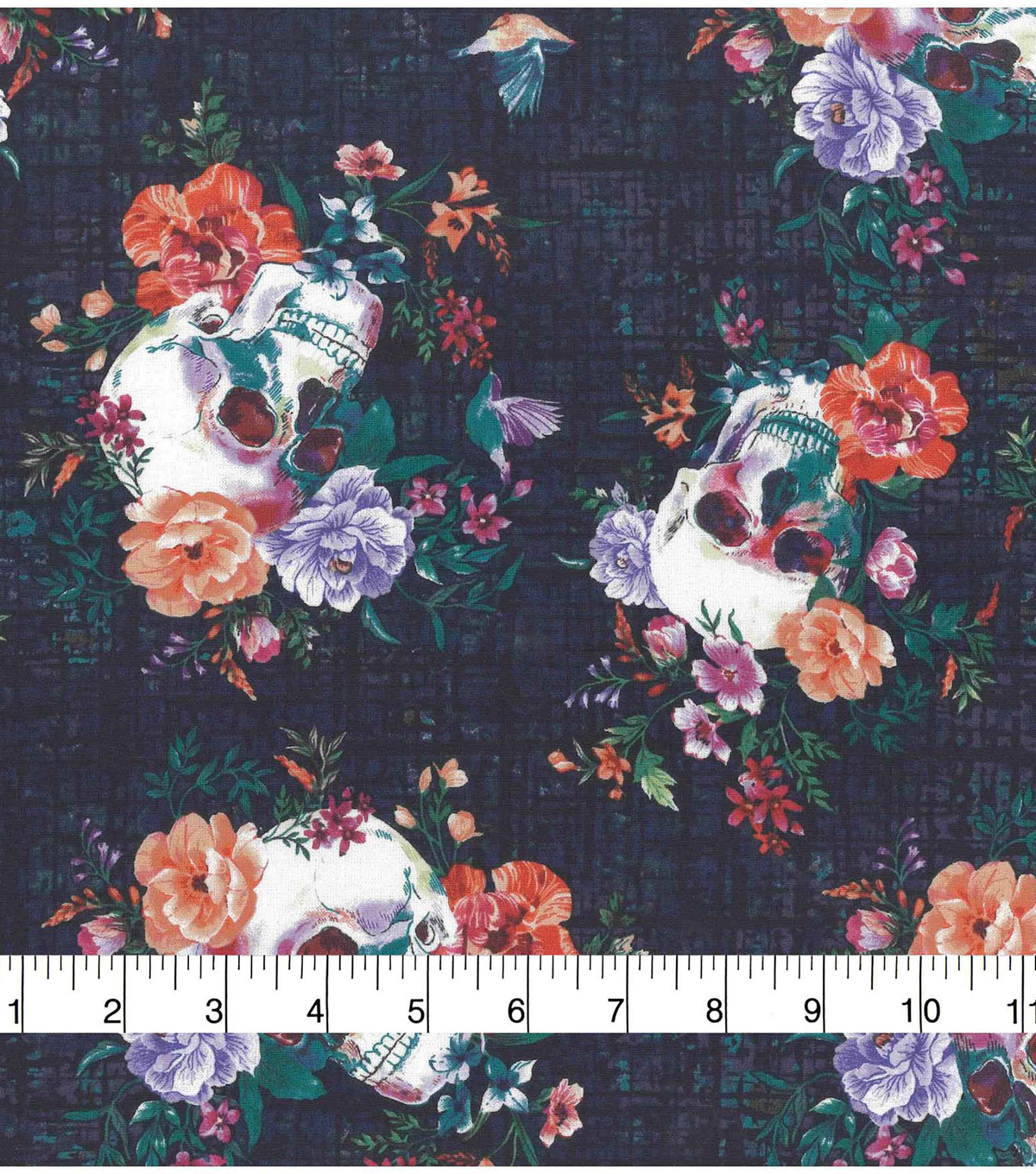 Halloween Novelty Cotton Fabric-Skulls with Bright Floral