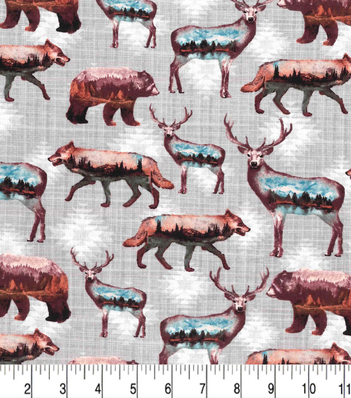 Novelty Cotton Fabric-Wild Animals Scenic Landscape