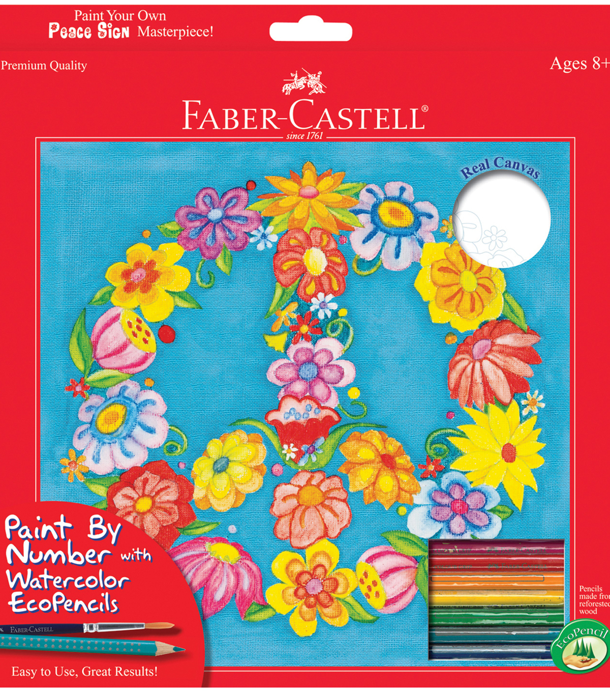 Creativity For Kids Faber Castell Watercolor Paint By Number Kit 9\u0022X9\u0022Peace Sign