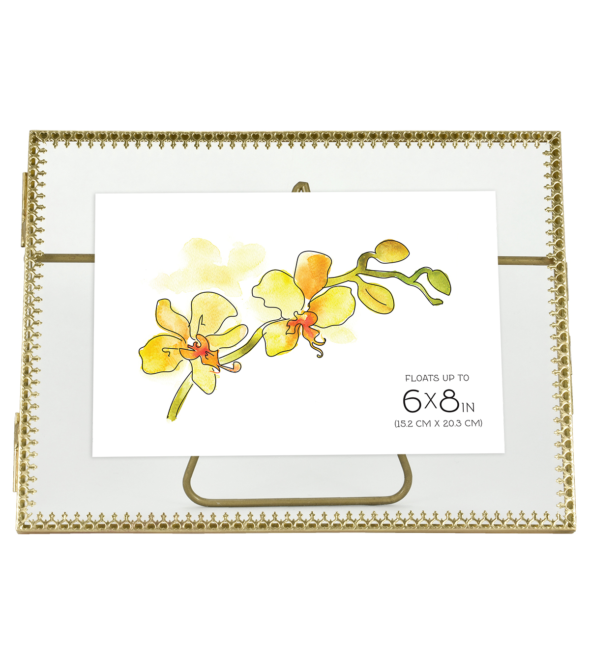 Brass Detailed Edge Pressed Glass Float Picture Frame-6\u0022X8\u0022