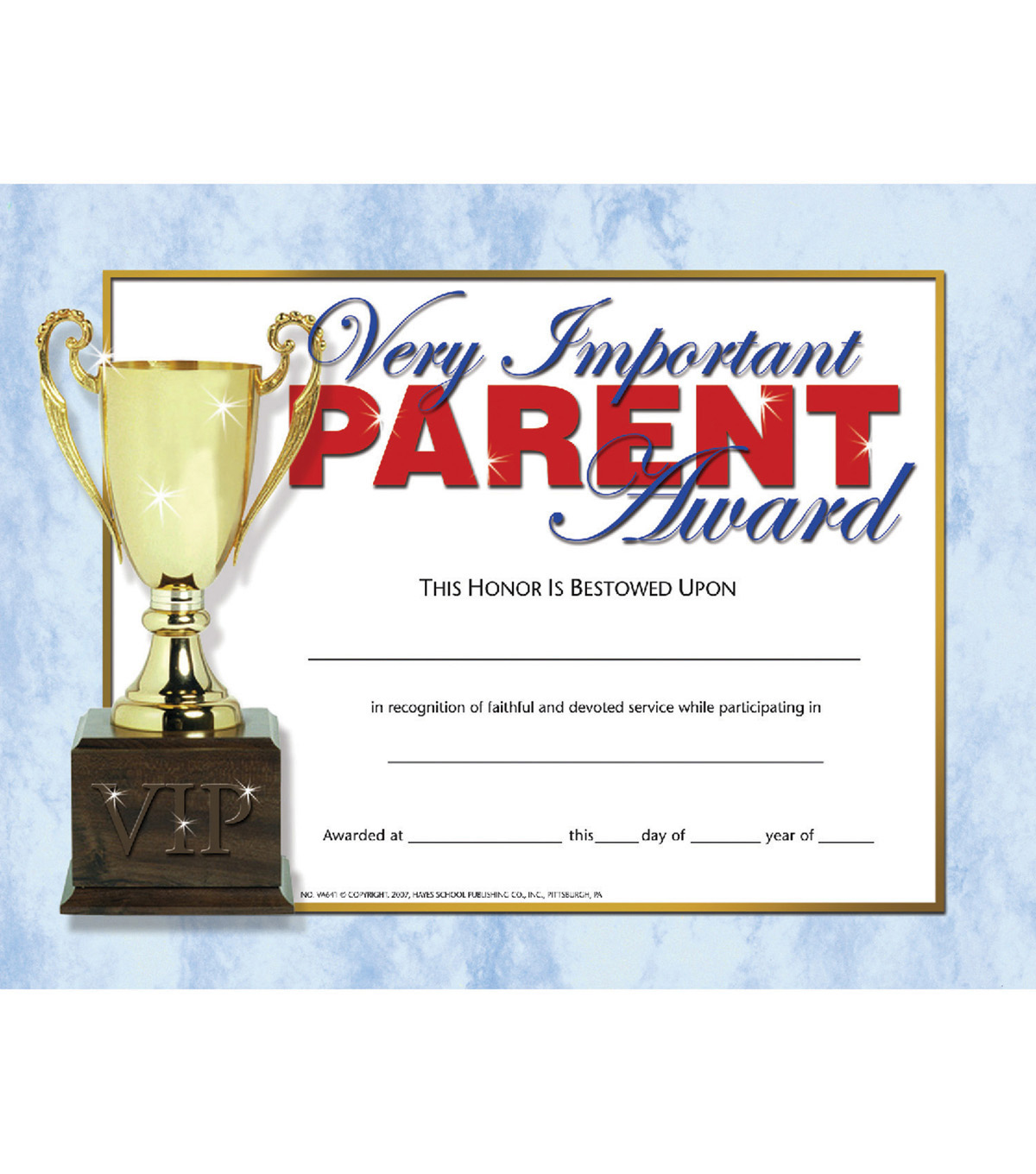 Hayes Very Important Parent Award, 30 Per Pack, 6 Packs