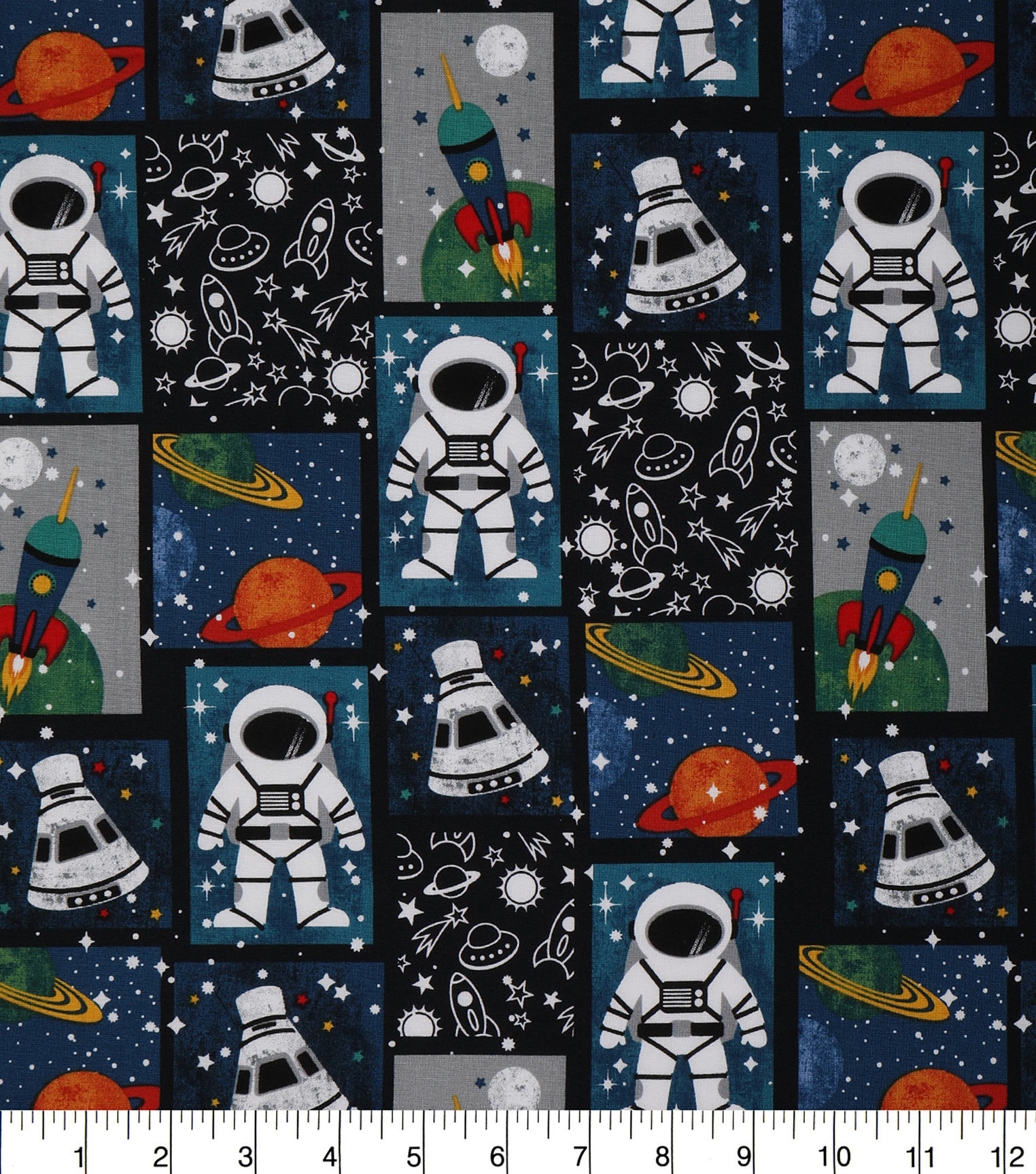 Novelty Cotton Fabric 43\u0027\u0027-Astronaut Patch