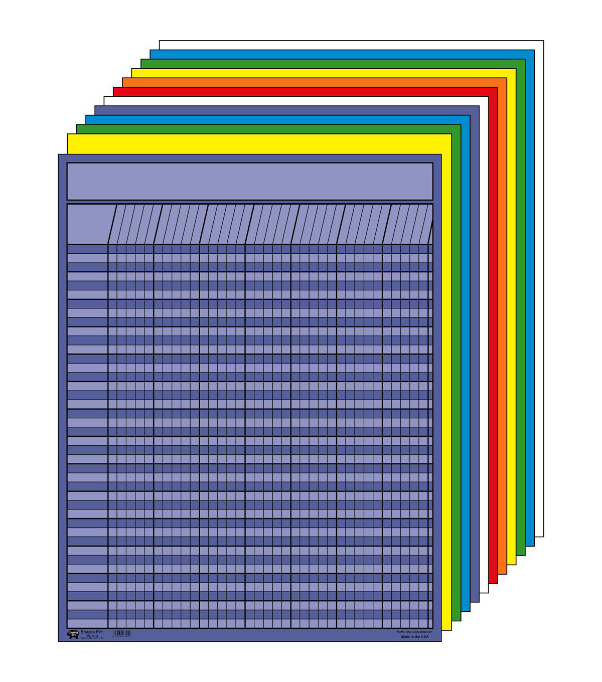 Large Vertical Incentive Chart Set - Assorted Color, Pack of 12