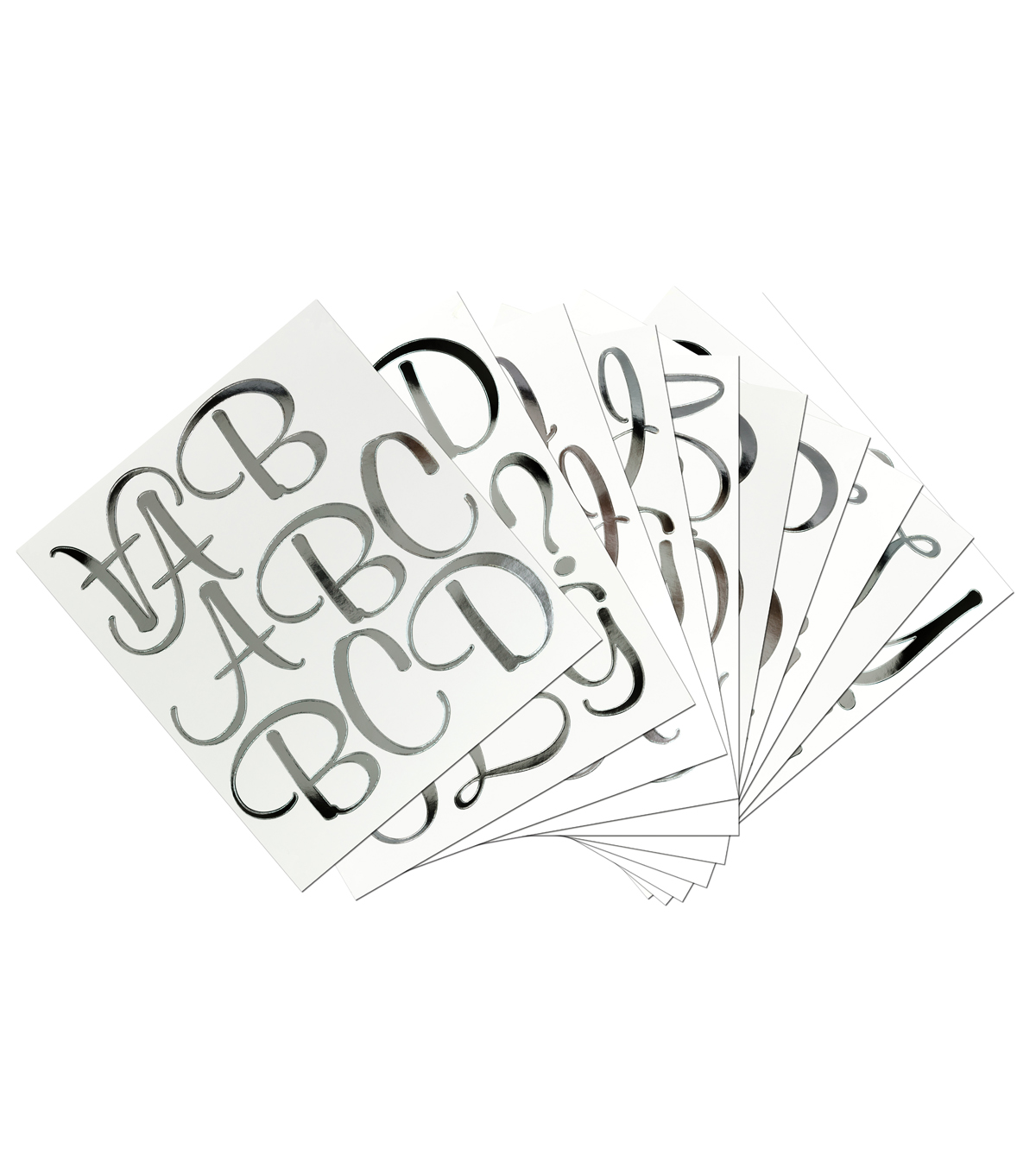 Sticko 121 Pack XL Script Alphabet Foil Stickers-Silver