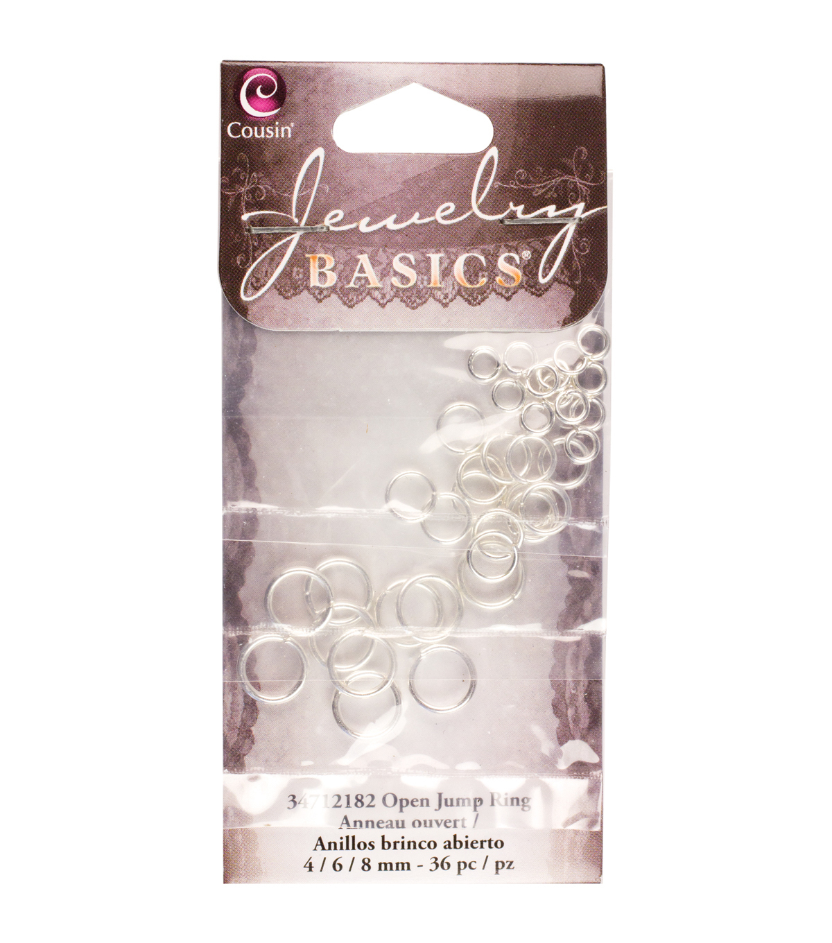 Jewelry Basics Metal Findings-Bright Silver 4/6/8mm Jump Rings 36/Pkg