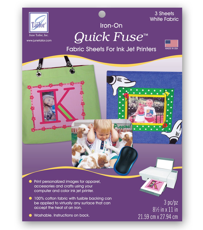 June Tailor Quick Fuse Inkjet Fabric Sheets 3 Pkg