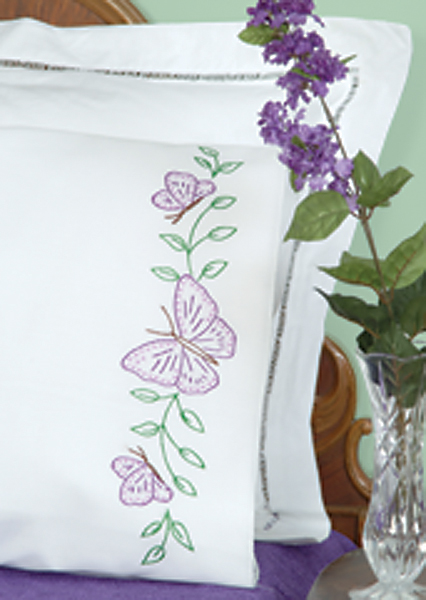 Jack Dempsey Pillowcases With White Perle Edge Stamped Cross Stitch