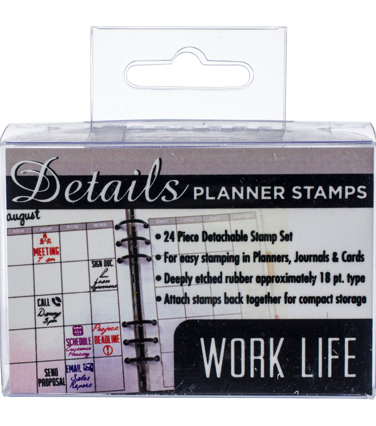 Contact Crafts Details 24 pk Planner Rubber Stamps-Work Life