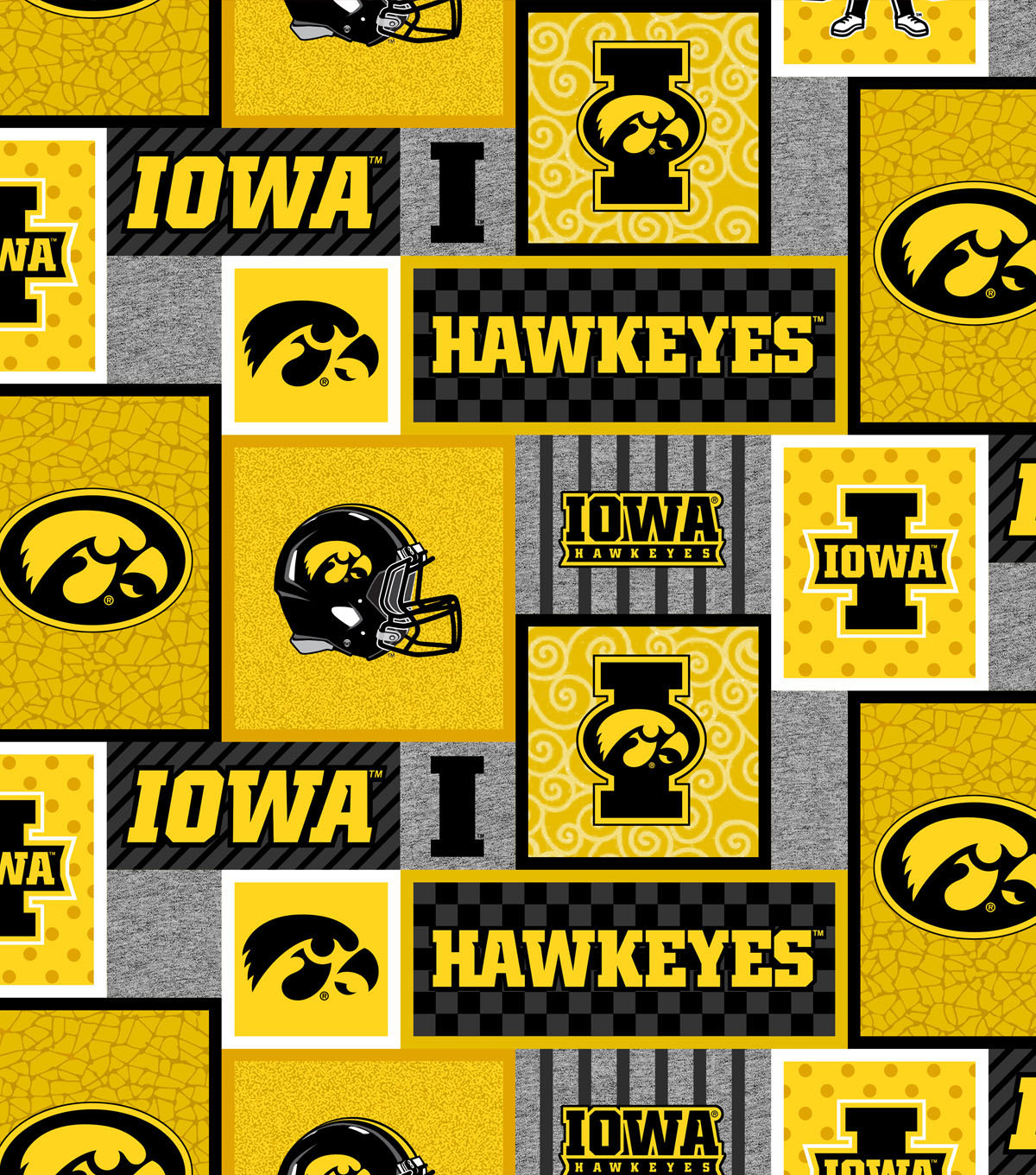 Iowa Hawkeyes Fleece Fabric-College Patches
