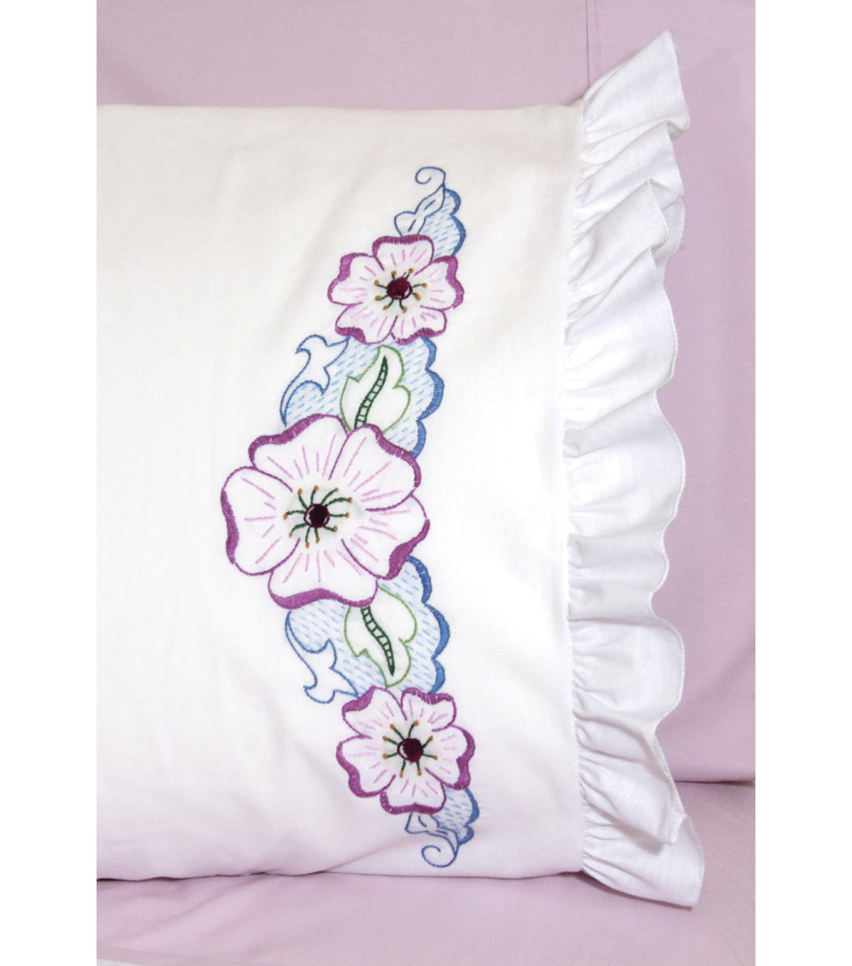Stamped Lace Edge Pillowcase 30\u0022X20\u0022 2/Pkg-Large Flower