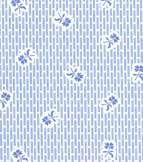 1930\u0027s Premium Cotton Print Fabric 43\u0027\u0027-Blue Rose Trapped Between Lines
