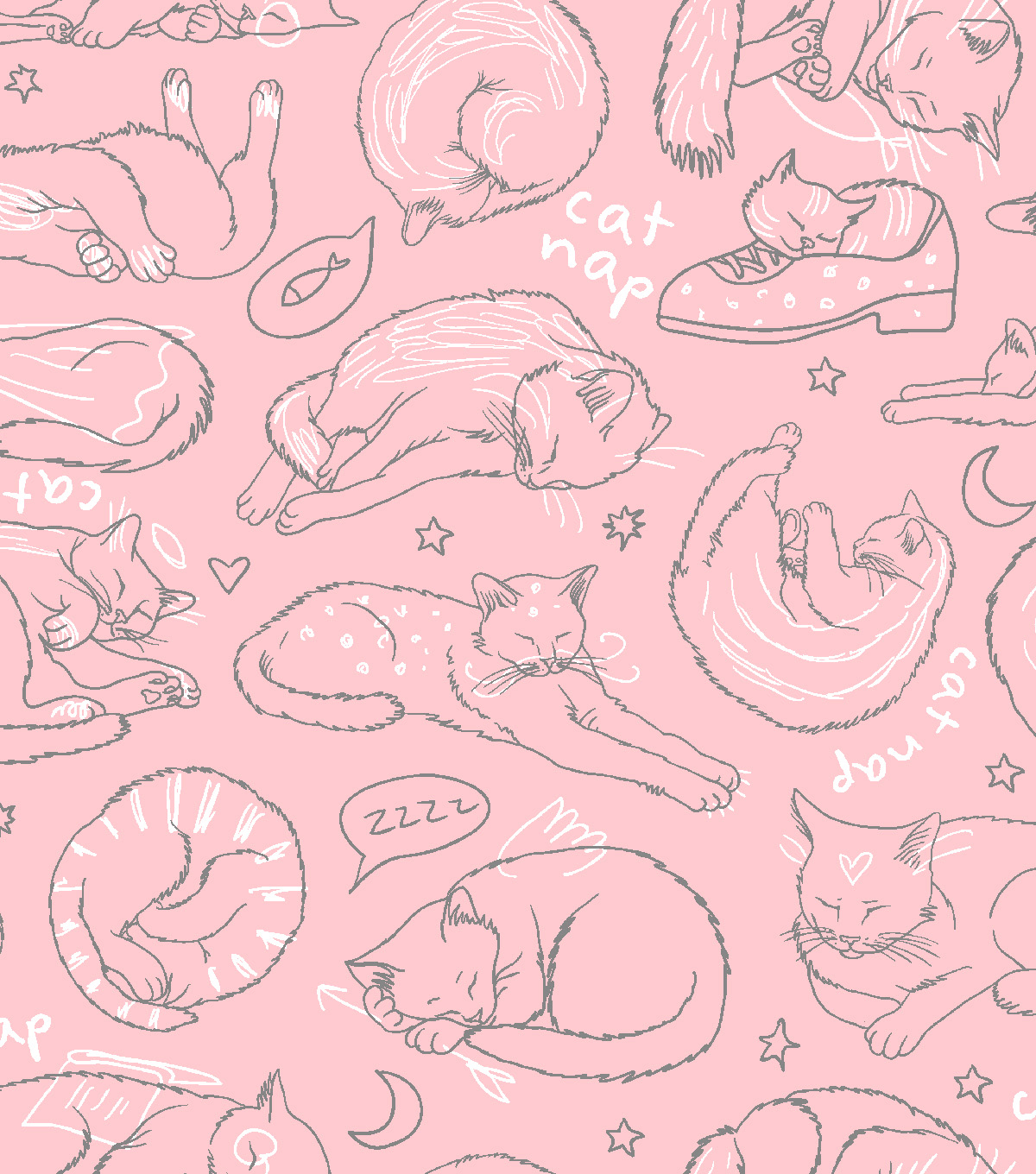 Blizzard Fleece Fabric -Purrr Sketched Cat