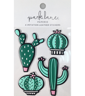 Park Lane Paperie 4 pk Imitation Leather Stickers-Cacti