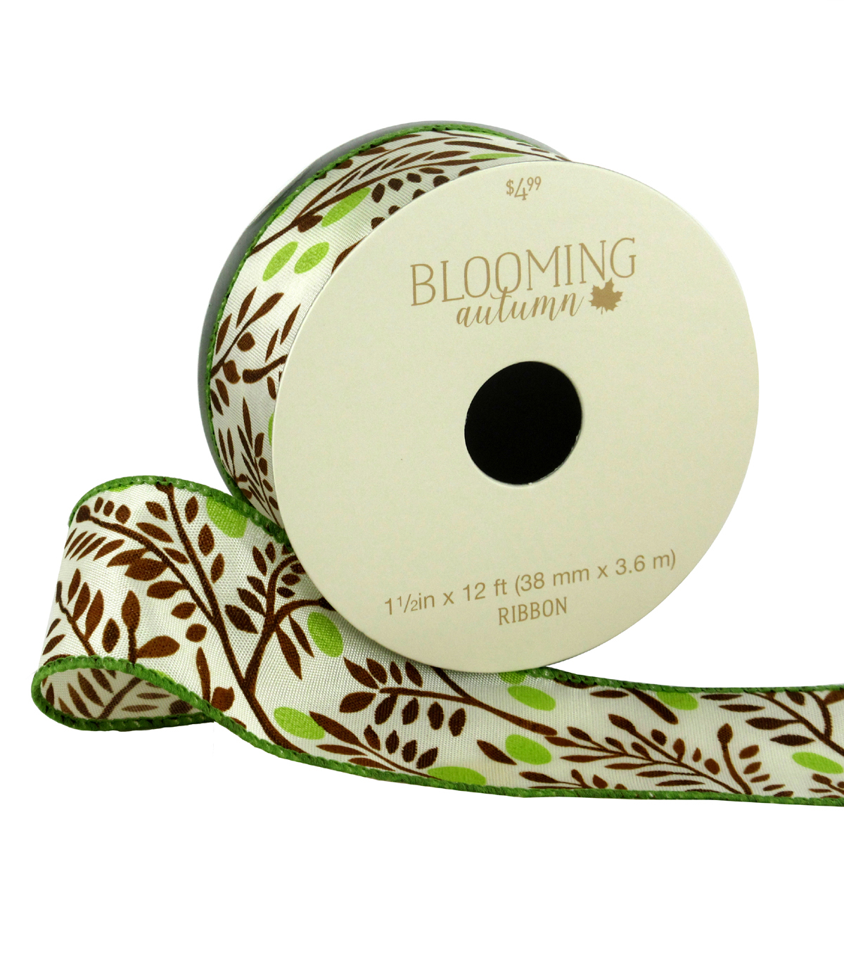 Blooming Autumn Ribbon 1.5\u0027\u0027x12\u0027-Brown Ferns on Ivory