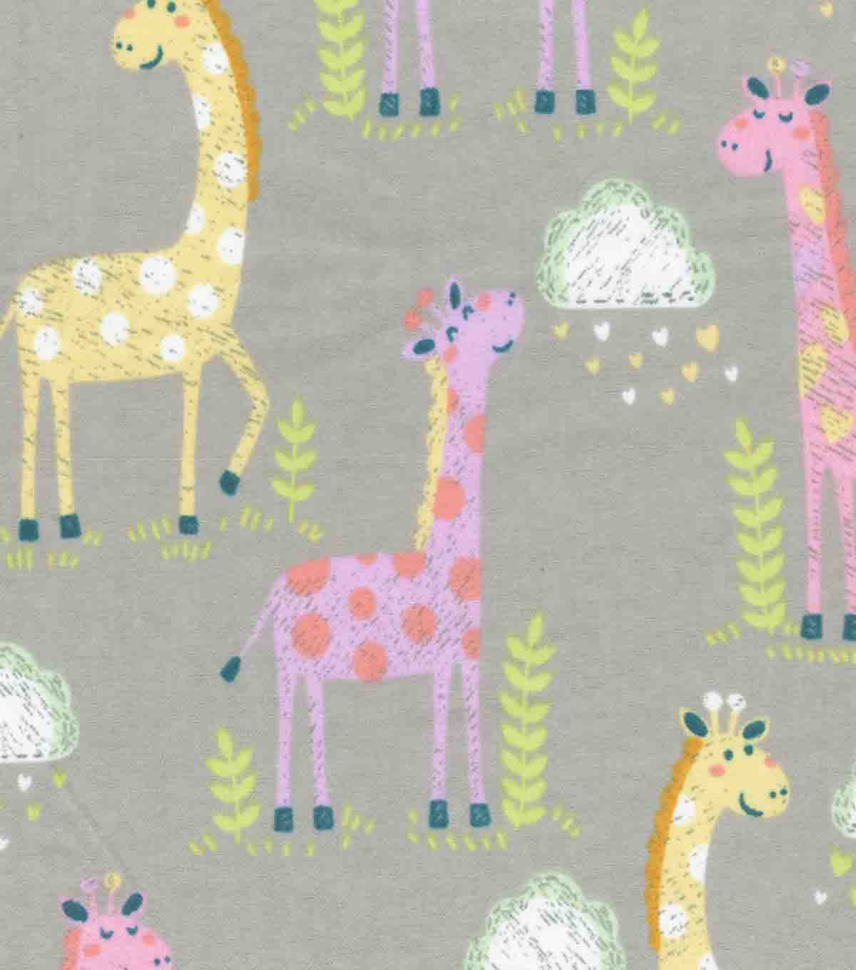 Snuggle Flannel Fabric-Colorful Giraffes & Clouds