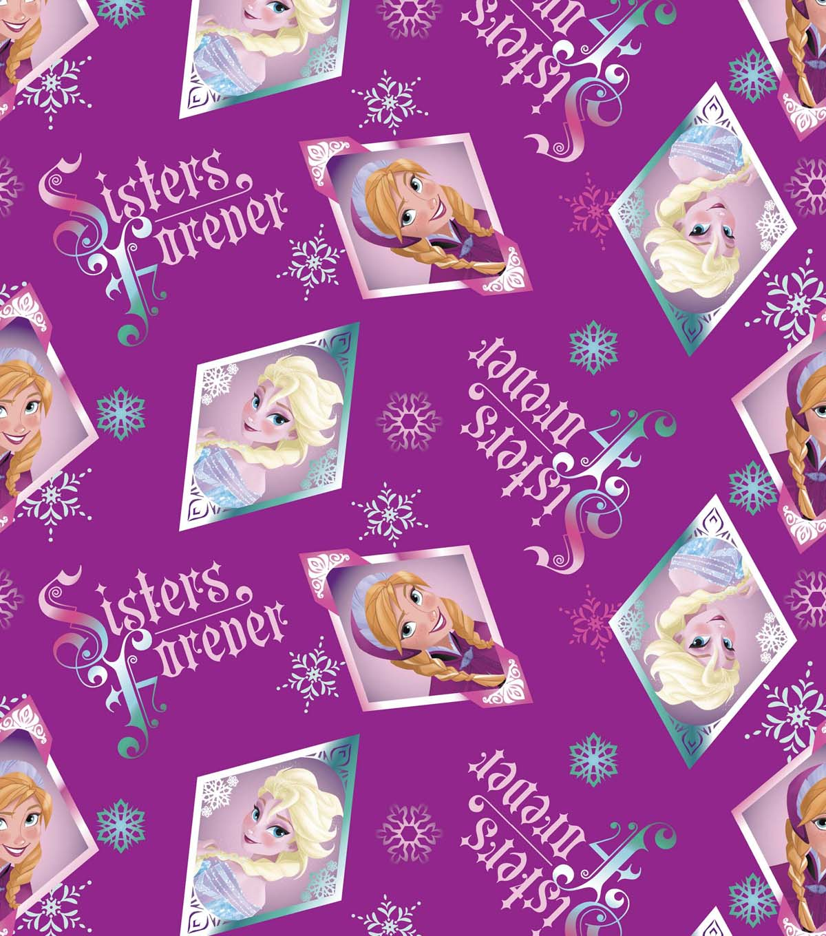 Disney Frozen Sisters Forever Badge Cotton Fabric