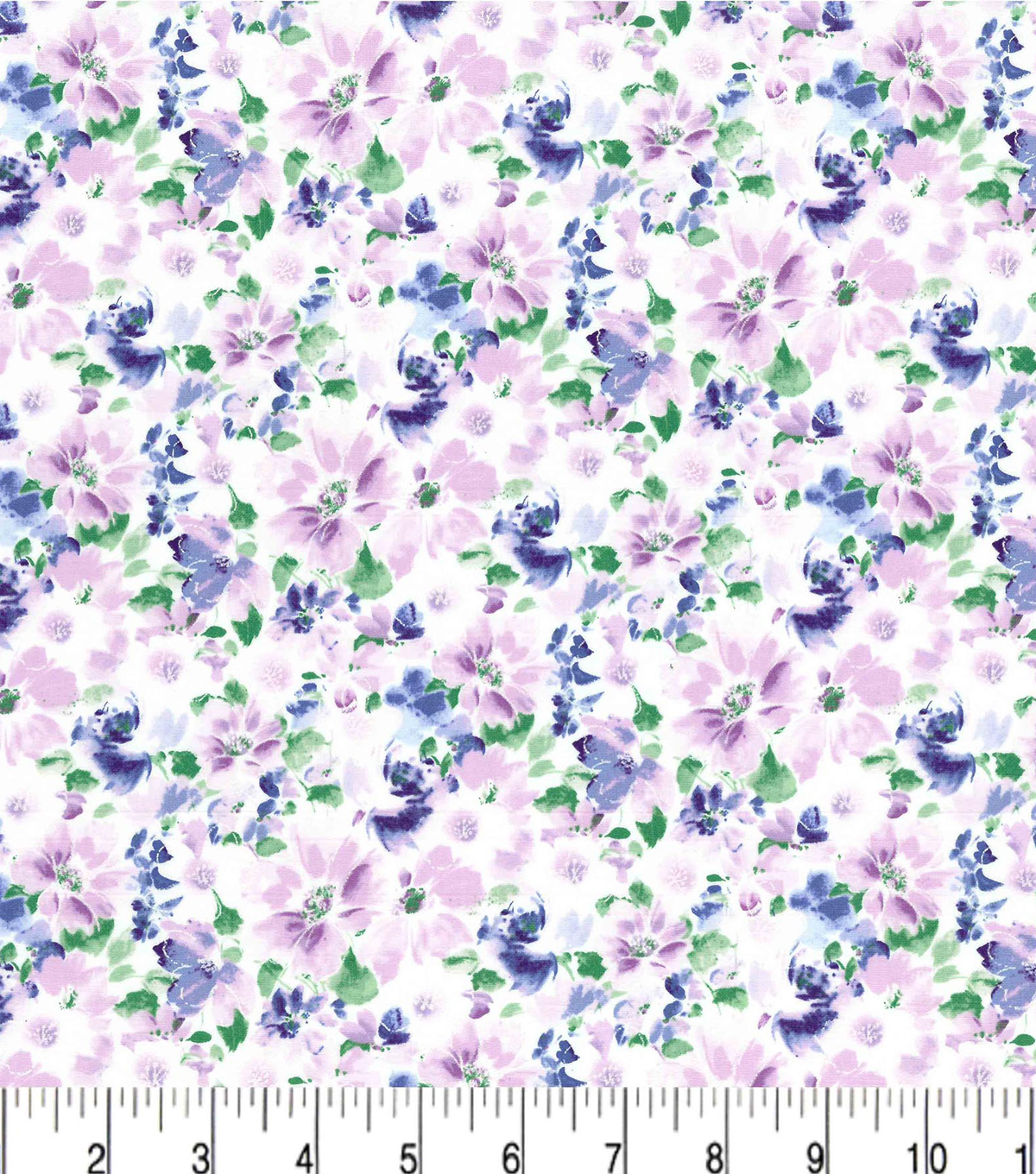 Premium Cotton Fabric-Purple & Pearl Sketched Floral