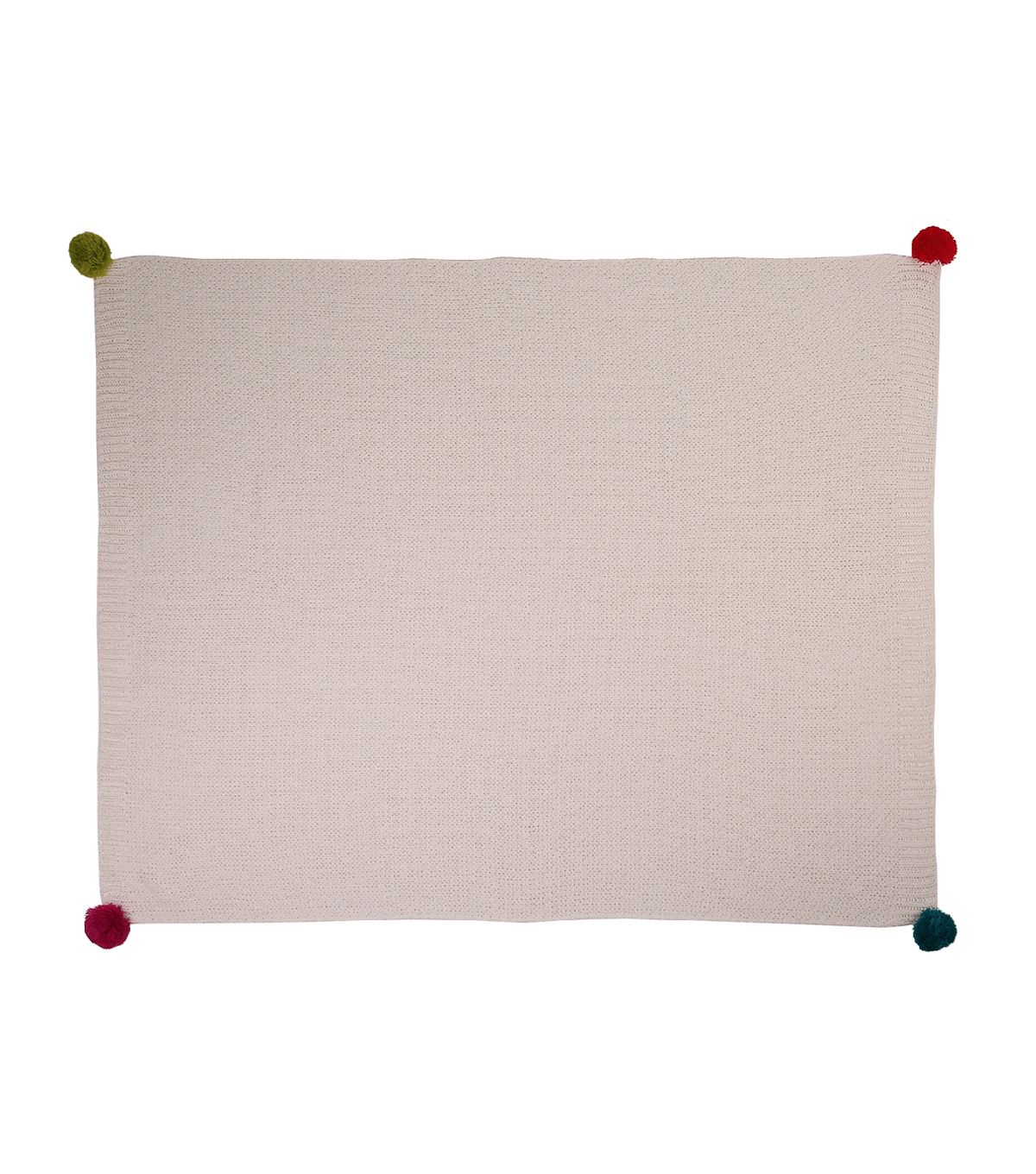 Maker\u0027s Holiday Christmas Ho Ho Ho Decor Throw with Pom Pom-Cream