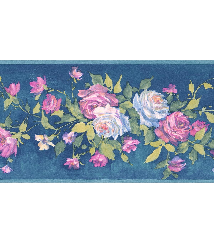 Rosa Blue Floral Bouquet Wallpaper Border Sample Joann