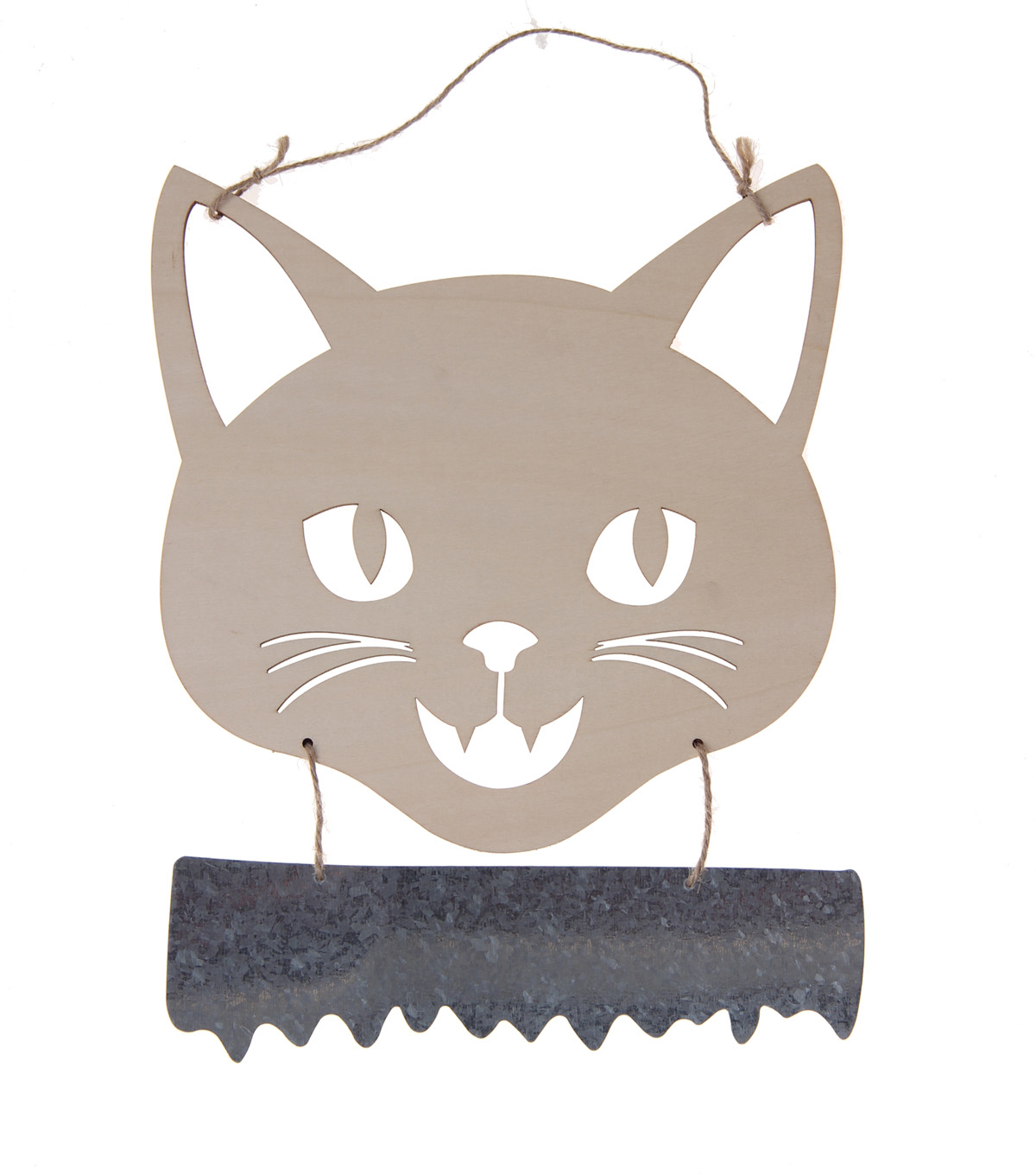 Maker\u0027s Halloween Craft 8.6\u0027\u0027x8.6\u0027\u0027 Wooden Hanging Cat Face