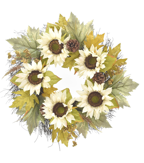 Blooming Autumn Sunflower, Pinecone, Berries & Leaves Wreath-Toast