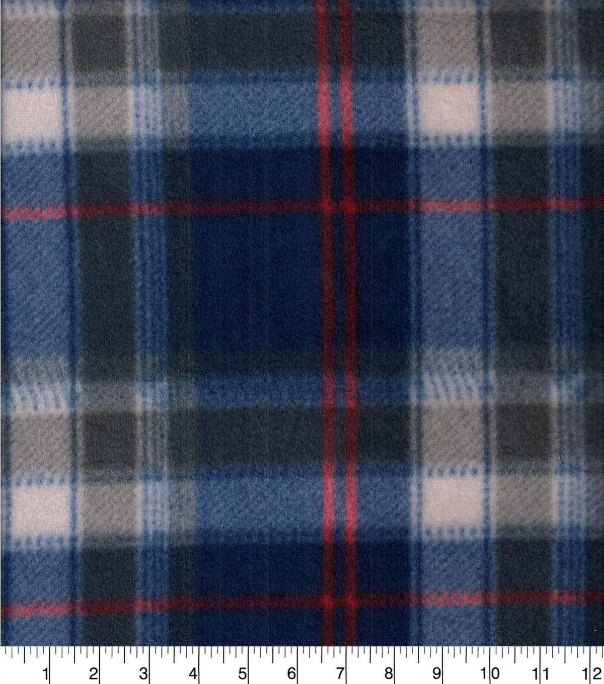 Blizzard Fleece Fabric-Beau Red & Navy Plaid