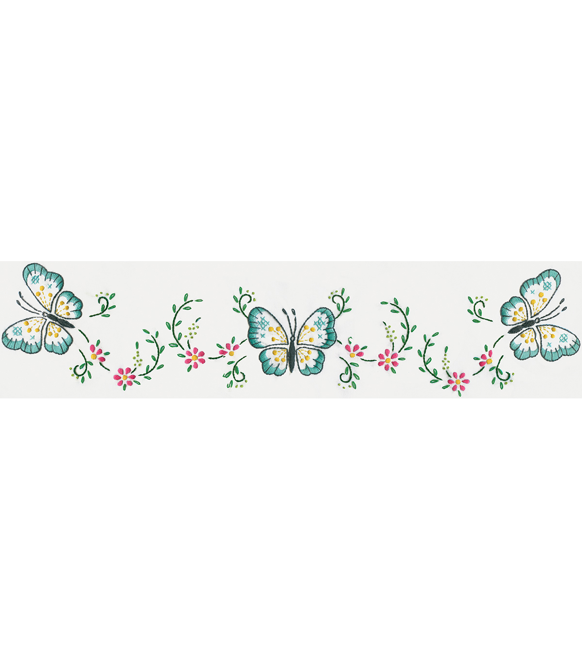 Stamped Pillowcase Pair For Embroidery 20\u0022X30\u0022-Aqua Butterfly