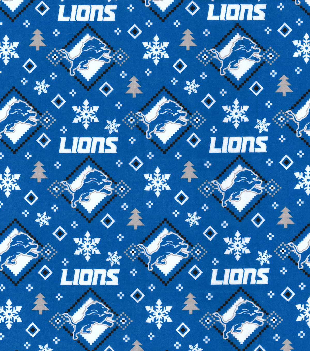 523884df Detroit Lions Flannel Fabric-Holiday